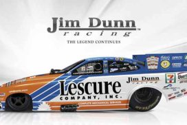 The Lescure Company will sponsor Jim Dunn Racing in two upcoming NHRA Mello Yello Drag Racing Series events.